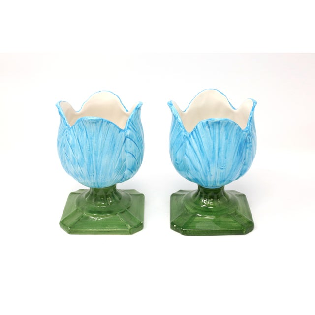 Ceramic Blue Tulip Planters - a Pair - Image 3 of 10