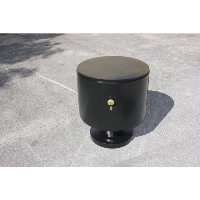 1940s French Art Deco Cylinder Ebonized Dry Bar For Sale - Image 12 of 13