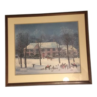 'La Chasse D'Hiver' Art Print Framed & Matted Under Glass by Michel Delacroix For Sale