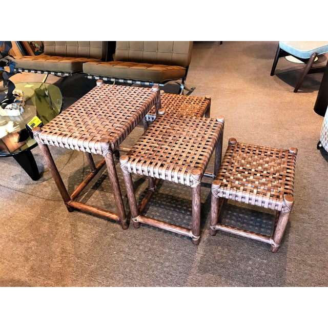 McGuire 1980s Rustic Modern McGuire Rattan and Laced Leather Nesting Tables or Stools - Set of 4 For Sale - Image 4 of 12