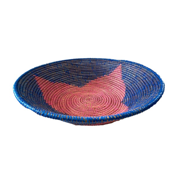 """Fiber Lg Handmade Woven Wolof Basket From Senegal 17.25"""" in D For Sale - Image 7 of 8"""