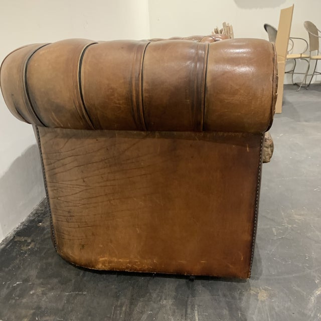 1980s Brown Leather Chesterfield Sofa For Sale - Image 9 of 13