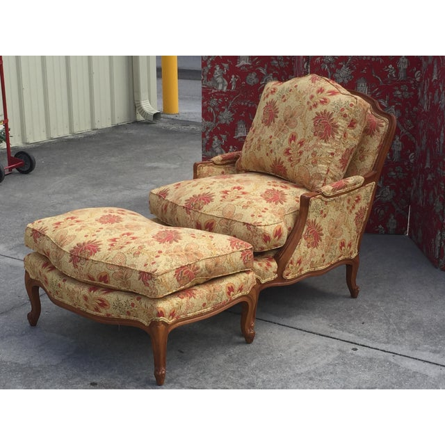 French Style Traditional Chair and Ottoman For Sale In Naples, FL - Image 6 of 6
