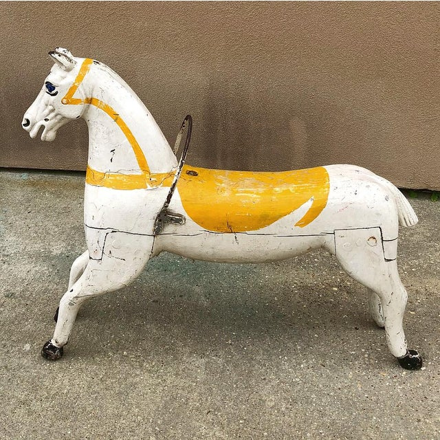 Hand-Painted Carved Wood Carousel Horse For Sale - Image 4 of 11