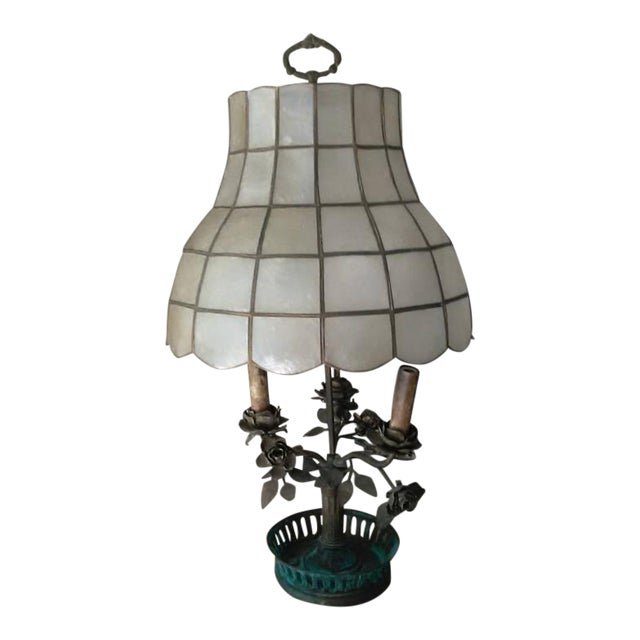 Antique Steel & Brass Roses Lamp - Image 1 of 9