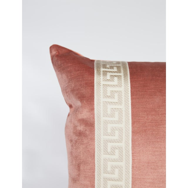 Pair of custom blush pink velvet pillows with ivory Greek key tape on fronts. Solid blush pink velvet backs and knife edge...