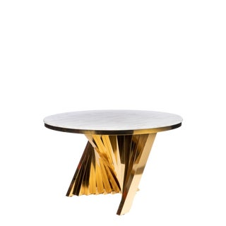 Modern Gold Waterfall Marble Top Dining Table For Sale