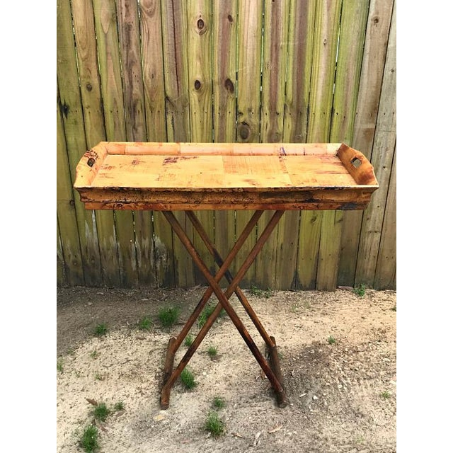 1970s Asian Modern Bamboo Tray Table With Folding Base For Sale - Image 9 of 9