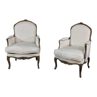 Pair of 19th Century French Walnut Regence Bergeres, Armchairs For Sale