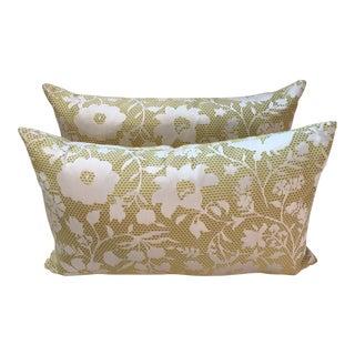 Yellow Floral Lumbar Pillows - A Pair