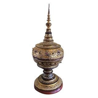 Antique Carved Wood Gold Burmese Offering Bowl For Sale