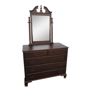 Solid Mahogany Dresser Bathroom Vanity With Mirror by Hungerford 1221 For Sale