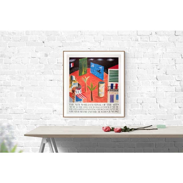 An poster designed and created by David Hockney representing a detail from the stage set of The Zanzibar with Postcards...