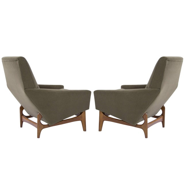 Handsome pair of Danish-Modern lounge chairs, newly recovered in olive velvet. Sculptural teak bases fully restored.