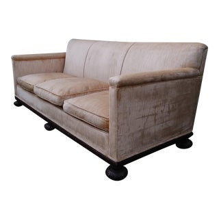 1920s Vintage Pink Velvet Sofa For Sale