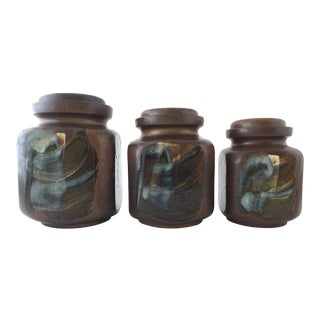 Vintage Pottery Craft Ceramic Flour Sugar Canisters - Set of 3 For Sale