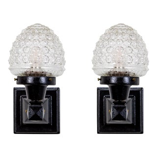 1920s Glass Acorn Black Iron Mounted Sconces - a Pair For Sale