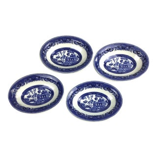 Small Shenago Desert Plates Willow Pattern - Set of 4 For Sale