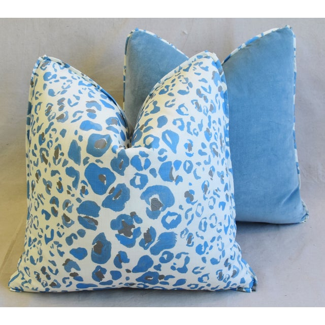 """Pindler & Pindler Leopard Animal Spot & Velvet Feather/Down Pillows 20"""" Square - Pair For Sale - Image 10 of 13"""