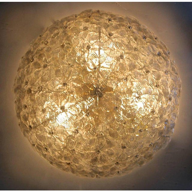 1970s Murano Glass Floral Pendant Flush Mount Lights - A Pair For Sale - Image 4 of 13