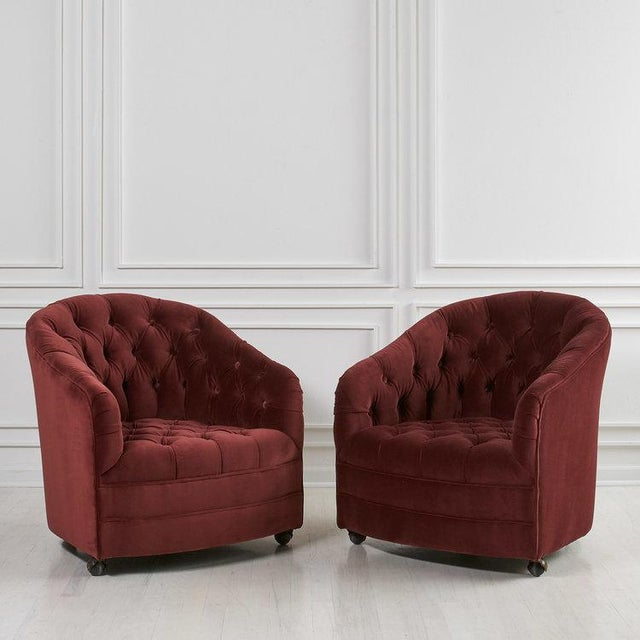 Pair of Tufted Velvet Swivel Chairs For Sale In Chicago - Image 6 of 6