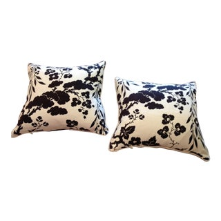 Rl Black and White Floral Linen Pillows, Pair For Sale