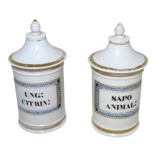 Antique French Paris Porcelain Apothecary Jars a Pair For Sale