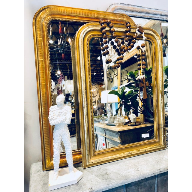 19th Century French Louis Philippe Beaded Gilt Frame Mirror For Sale - Image 10 of 11