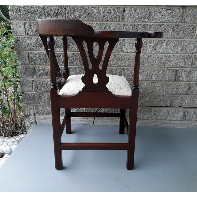 The Bartley Collection Furniture Solid Mahogany Corner Chair Embroidered Linen Upholstered Seat For Sale - Image 6 of 13