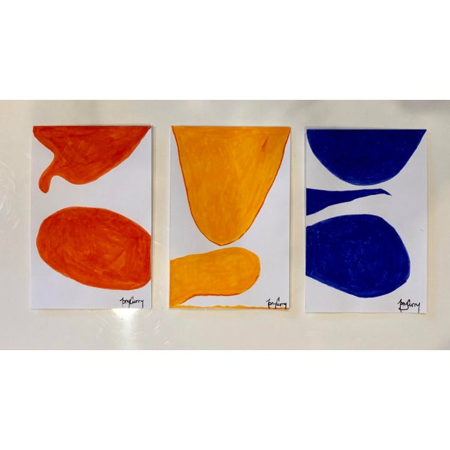 Modern Triptych 3 Original Modern Watercolor Paintings by Tony Curry For Sale - Image 3 of 3