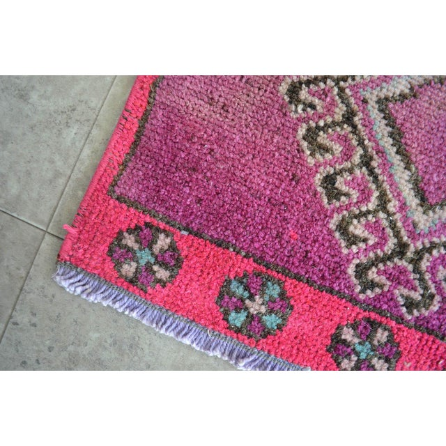 Distressed Low Pile Turkish Yastik Petite Rug Low Pile Faded Mat - 17'' X 40'' For Sale - Image 4 of 5