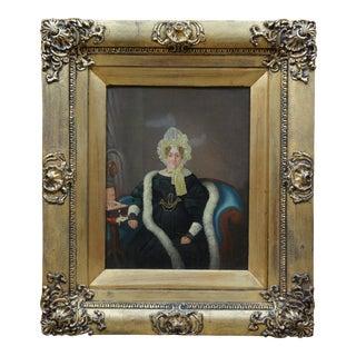 Antique 19th Century Oil on Canvas Portrait Woman in Bonnet For Sale