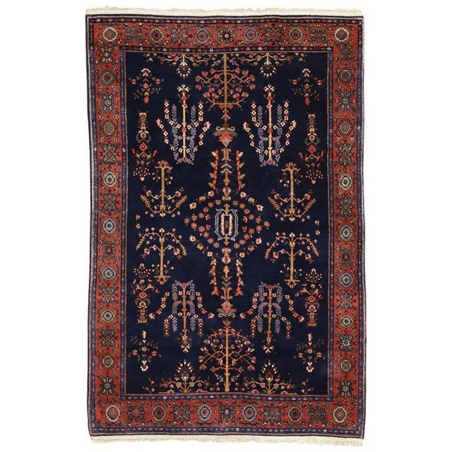Blue Early 20th Century Antique Persian Sarouk Rug - 4′3″ × 6′5″ For Sale - Image 8 of 8