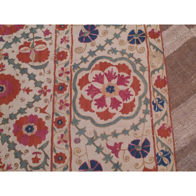 Mid 19th Century Antique Suzani For Sale - Image 5 of 8