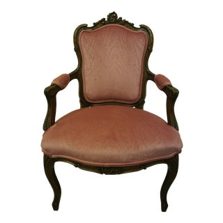Antique Louis XV French Baroque Carved Walnut Accent Chair Fauteuil Arm Rococo For Sale