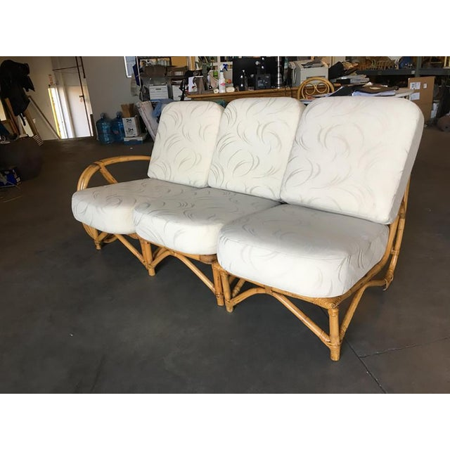 Restored 3/4 Round Pretzel Rattan Three Seater Sofa With Two Tier Table For Sale In Los Angeles - Image 6 of 11