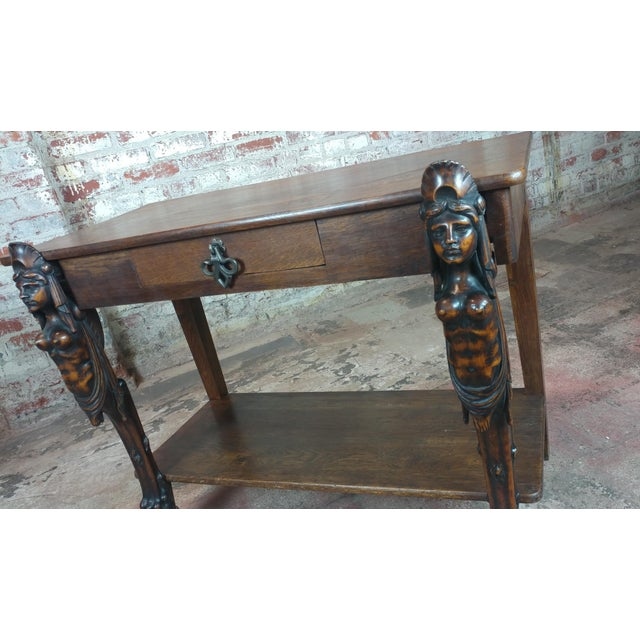 Antique Side table w/two carved Nude Female Figures For Sale - Image 12 of 12