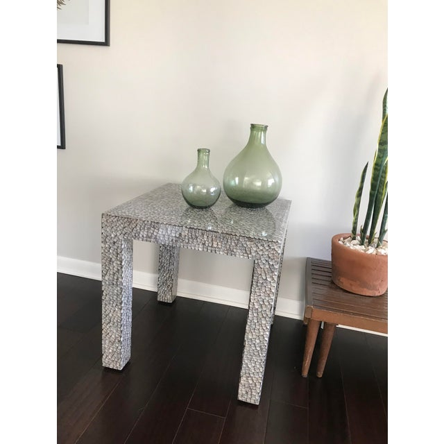 Contemporary Made Goods Vertagus Shell Inlay Parsons Side Table For Sale - Image 11 of 13