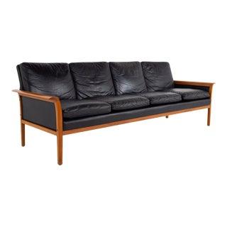 Knut Sæter for Vatne Mobler Mid Century Danish Teak and Black Leather Sofa For Sale