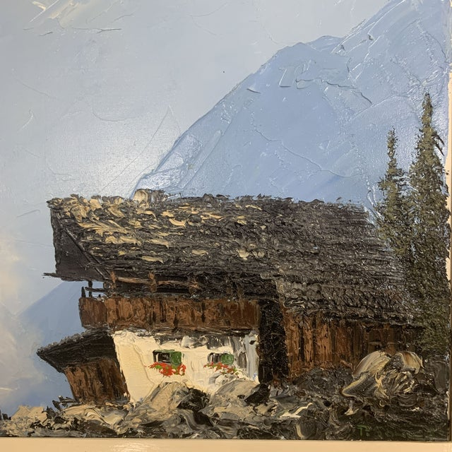 Vintage Swiss Alps and Cabin Large Framed Painting For Sale In Denver - Image 6 of 12