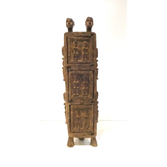 Vintage Dogon Carved Wood Tobacco Leaf Box - Image 2 of 9