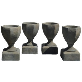 Cast Cement Octagonal Planter/Urn on Pedestal For Sale