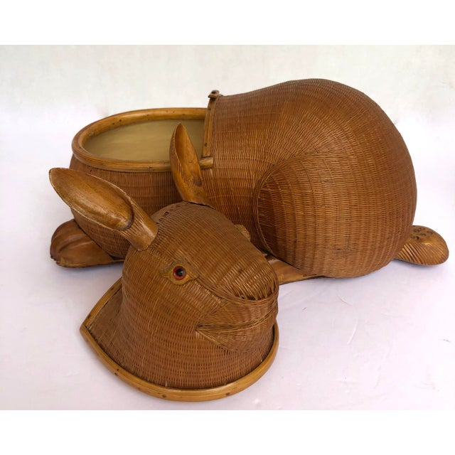 20th Century Shanghai Collection Hand Woven Wicker Rabbit Box For Sale - Image 11 of 13