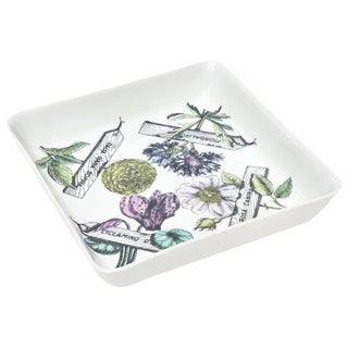 "Italian Fornasetti Porcelain ""Botanica Pratica"" Square Bowl Serving Piece For Sale"