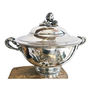 Antique Christofle Silver Tureen With Armorial Engraving For Sale