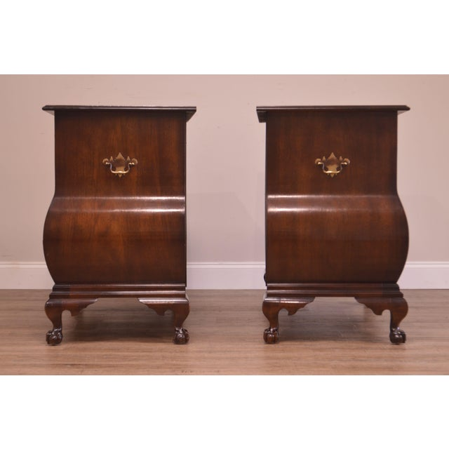 1960s Chippendale Style Kettle Base Pair Mahogany Bombe Claw Foot Chests For Sale - Image 5 of 12