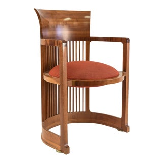 Frank Lloyd Wright Cherry Wood Barrel Chair, Signed