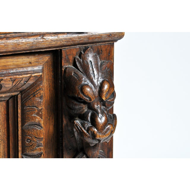 "French ""Black Forest"" Style Hunting Oak Buffet Cabinet For Sale - Image 9 of 11"