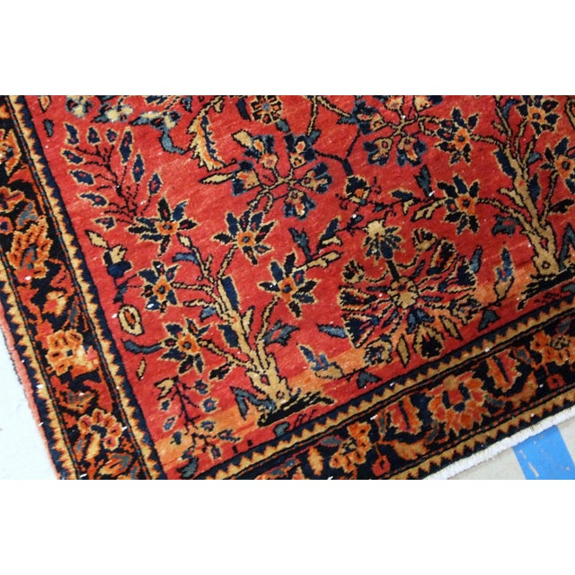 1900 - 1909 1900s, Handmade Antique Persian Sarouk Runner 3.2' X 7.10' For Sale - Image 5 of 12