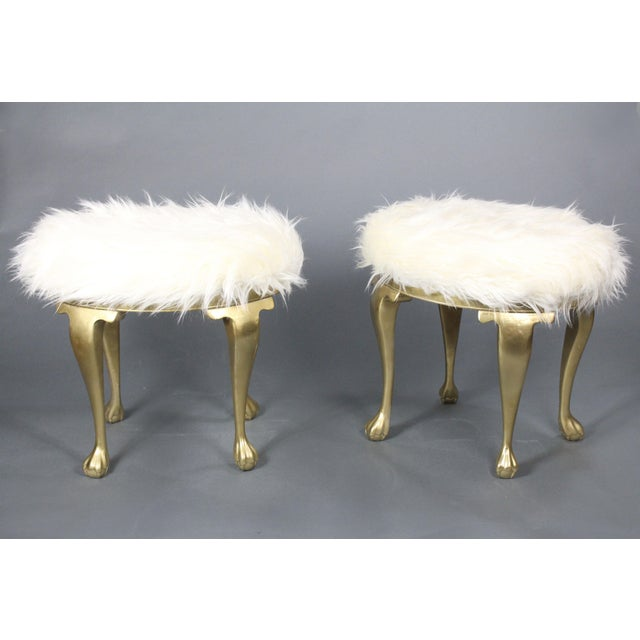Wood 19th Century Gold Victorian Hollywood Regency Faux Mongolian Sheep Fur Foot Stools - a Pair For Sale - Image 7 of 7